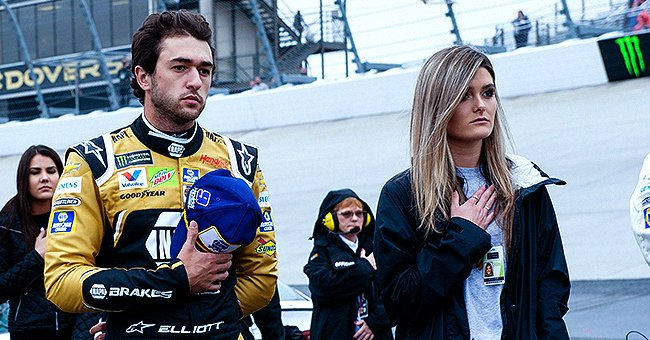 Chase Elliott and Kaylie Green stand for the national anthem at the Monster Energy NASCAR Cup Series in Delaware on May 5, 2019. | Photo: Getty Images