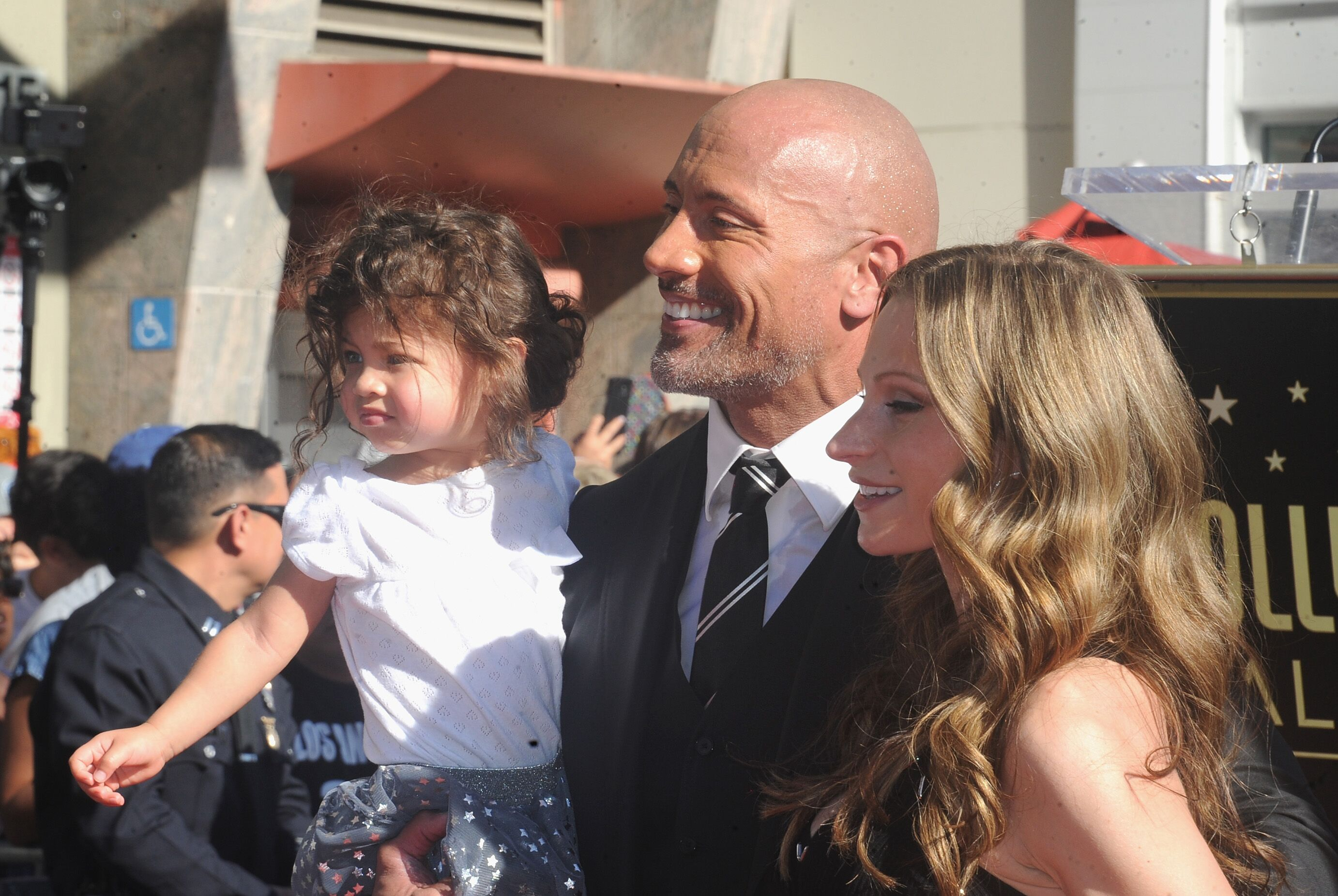 Dwayne Johnson, Jasmine Johnson, and Lauren Hashian at the Dwayne Johnson Star Ceremony. | Source: Getty Images