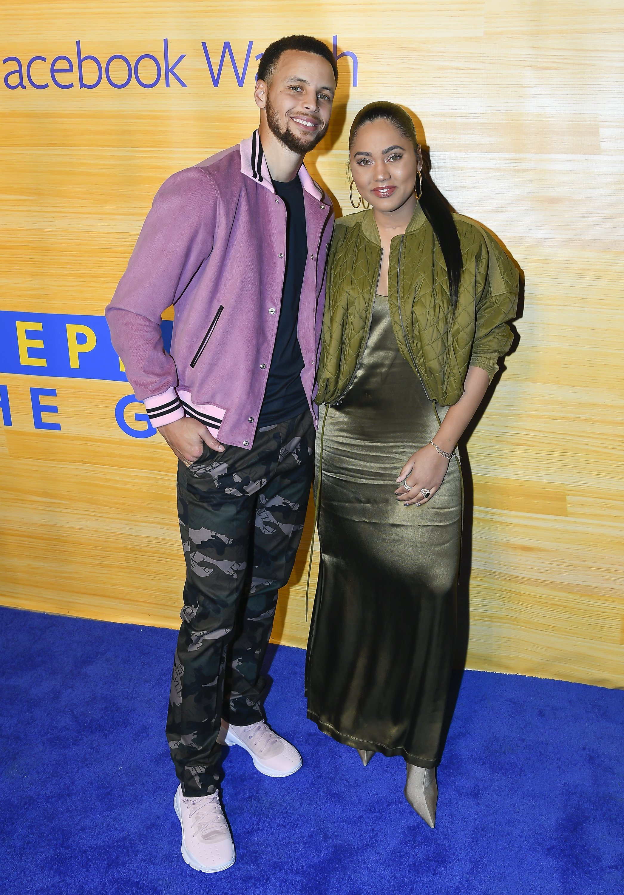 """Stephen Curry and Ayesha Curry attend the """"Stephen Vs The Game"""" Facebook Watch Preview at 16th Street Station on April 1, 2019 in Oakland, California 