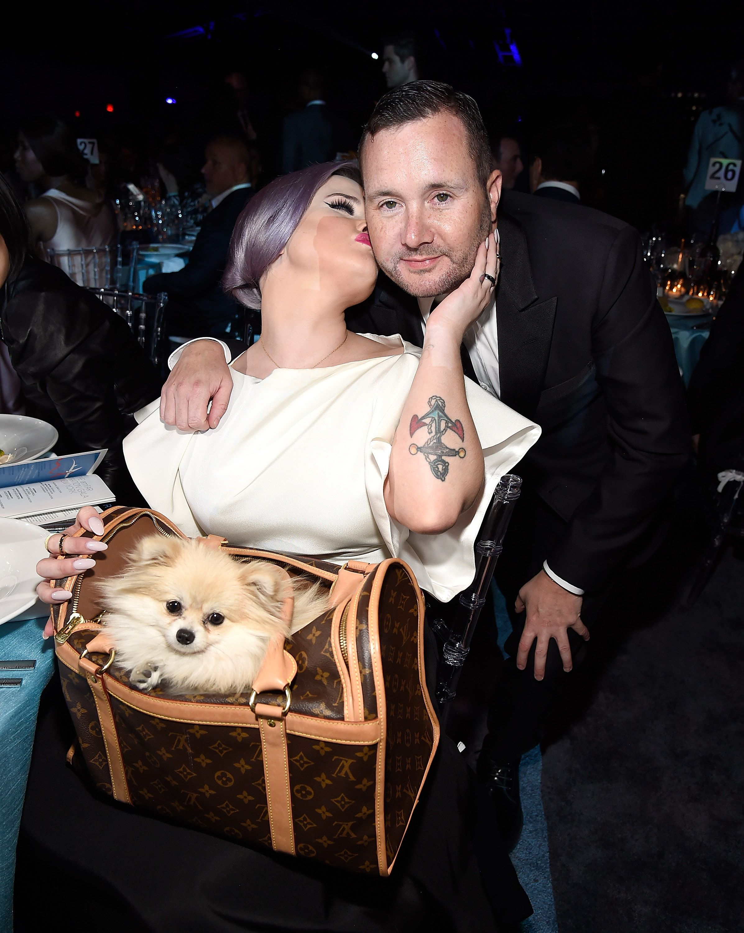 Kelly Osbourne and Kim Jones during the 7th Annual amfAR Inspiration Gala New York at Skylight at Moynihan Station on June 9, 2016 in New York City. | Source: Getty Images