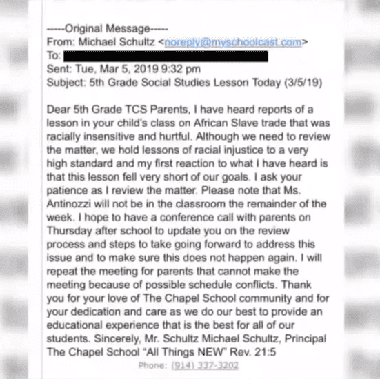 Screenshot of the school principal's mail to parents. | Photo:YouTube/ PIX11 News
