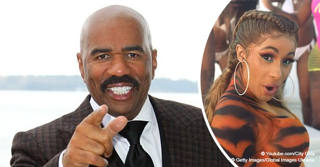 Steve Harvey Stirs up Talk after Revealing He Watched Cardi B's 'Twerk' Video 26 Times