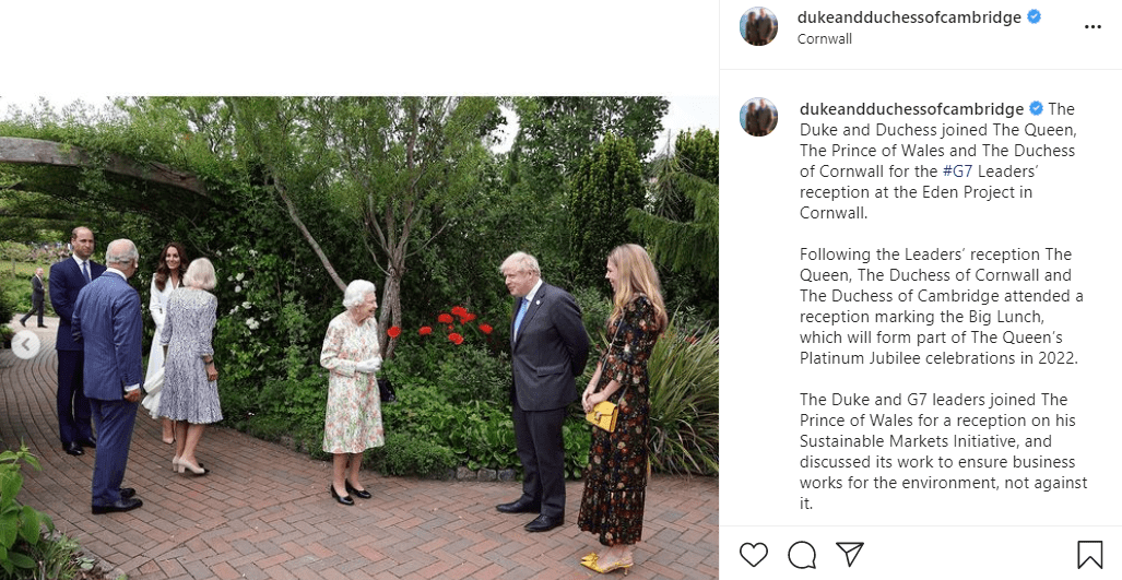The Queen, Prince Charles, Duchess Camilla, Prince William, Duchess Kate, and Boris Johnson meet at the G7 reception on June 11, 2021, at the Eden Project in Cornwall   Photo: Instagram/@dukeandduchessofcambridge