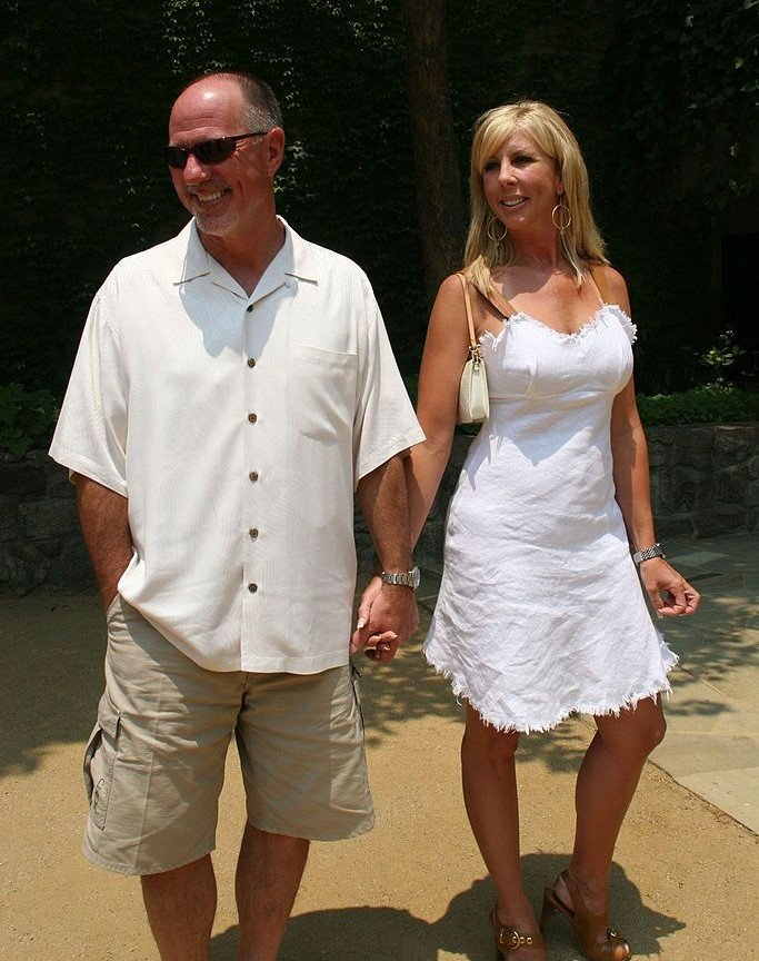 "Vicki and Donn Gunvalson on the set of ""Real Housewives of Orange County"" 