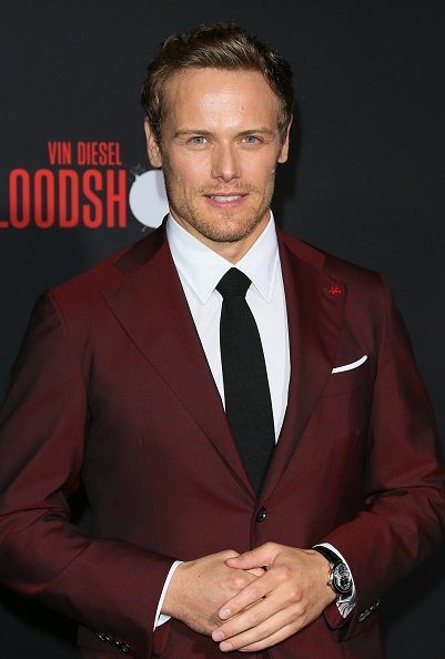 """Sam Heughan at the premiere of Sony Pictures' """"Bloodshot"""" on March 10, 2020 in Los Angeles, California. 