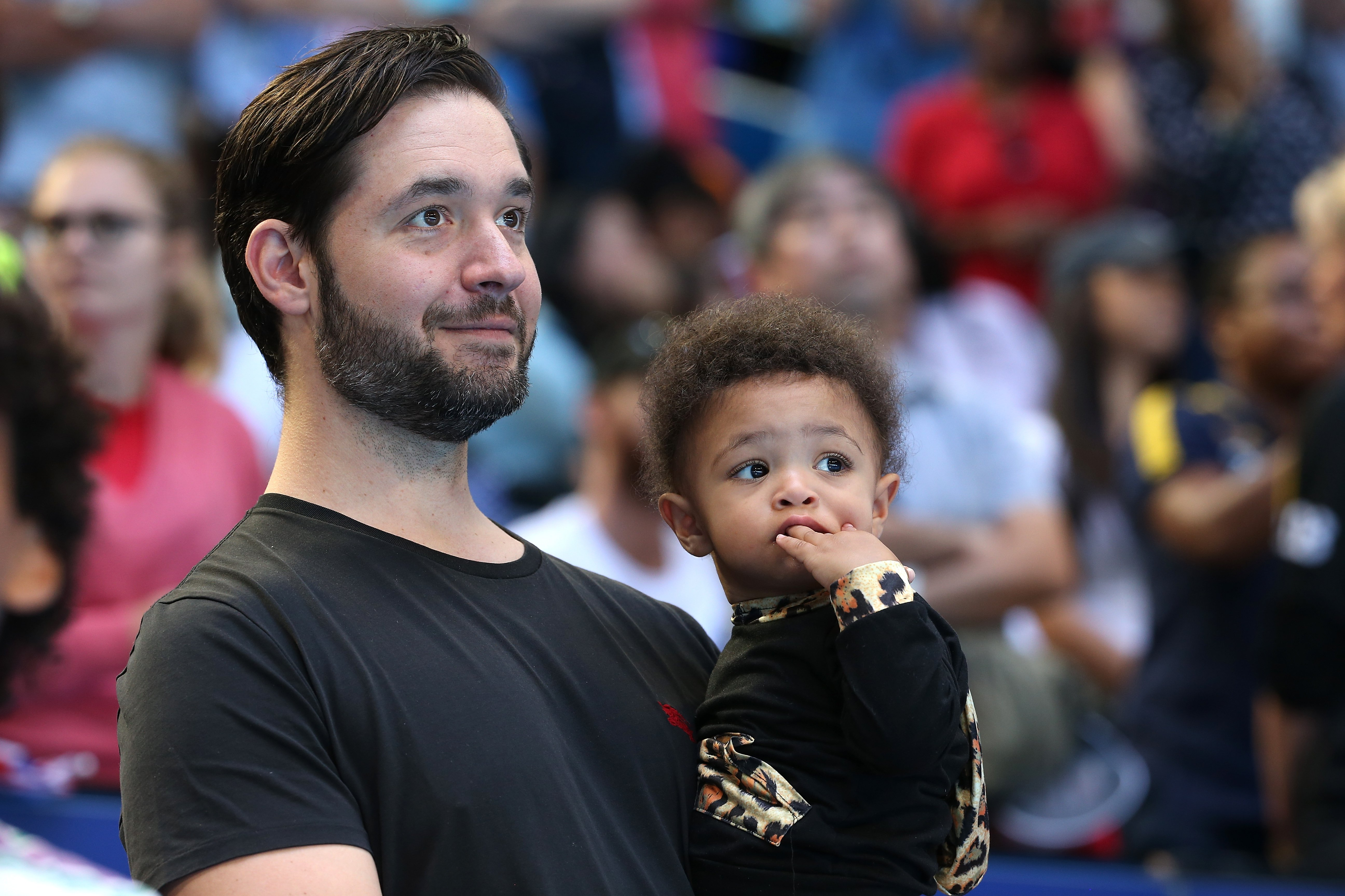 Alexis Ohanian holds Olympia Ohanian Jr. at the 2019 Hopman Cup at RAC Arena on January 03, 2019 in Perth, Australia. | Source: Getty Images