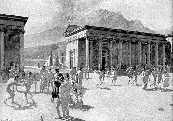 Greek Gymnasium at the Time of the First Olympic Games, Engraving, 776 BC | Source: Getty Images