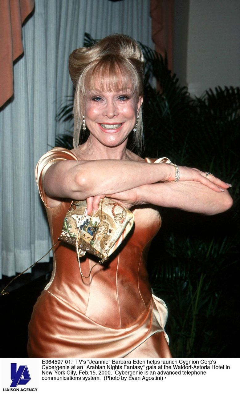 "Barbara Eden helps launch Cygnion Corp's Cybergenie at an ""Arabian Nights Fantasy"" gala. 