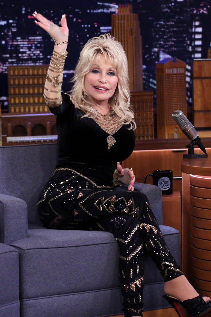 "Dolly Parton pictured appearing on ""The Tonight Show Starring Jimmy Fallon,"" 2019. 
