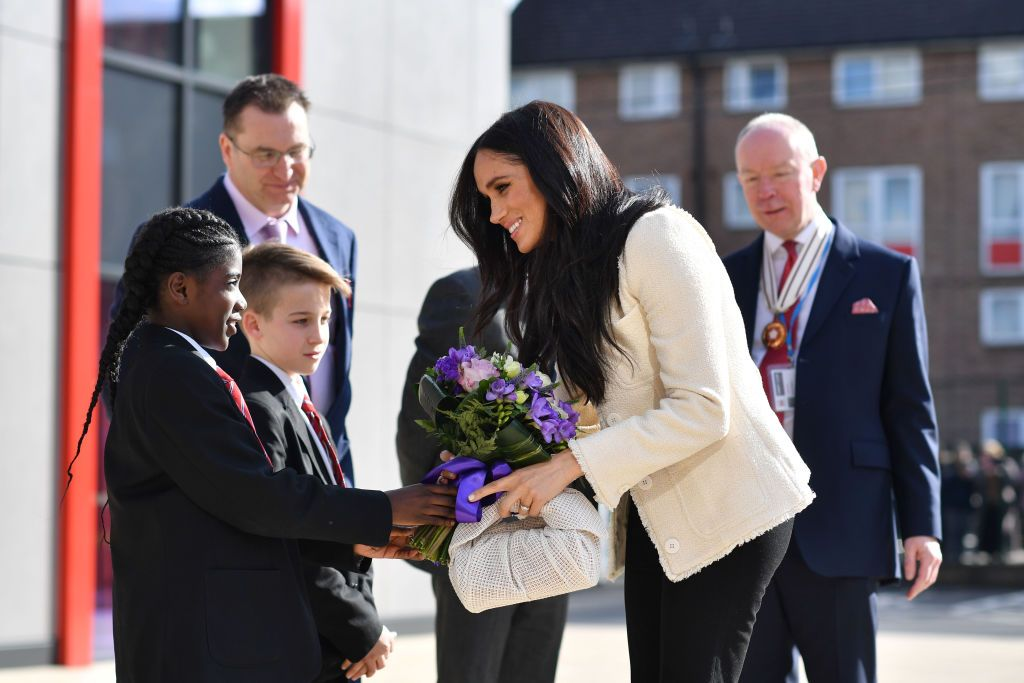 Meghan Markle at the Robert Clack Upper School in Dagenham on Sunday 8th March, on March 6, 2020    Getty Images