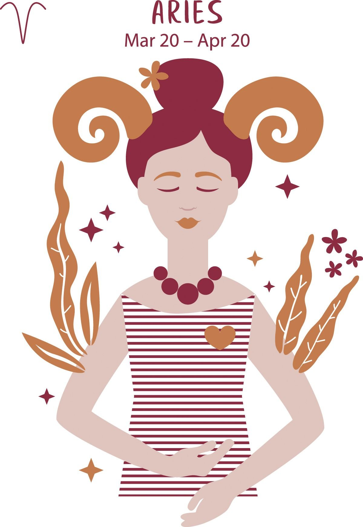 Aries (March 20 to April 20) represented by a horned woman with her eyes closed.