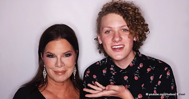 Marcia Gay Harden's 14-year-old son shares a new video of him choosing his make-up