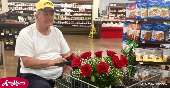 Stranger helps elderly man celebrate late wife's birthday after seeing flowers in cart