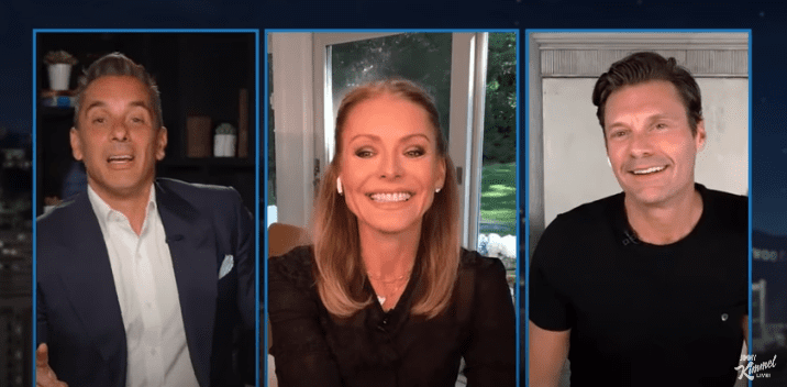 """Kelly Ripa and Ryan Seacrest talk about their experience amid the pandemic on """"Jimmy Kimmel Live"""" on July 16, 2020. 