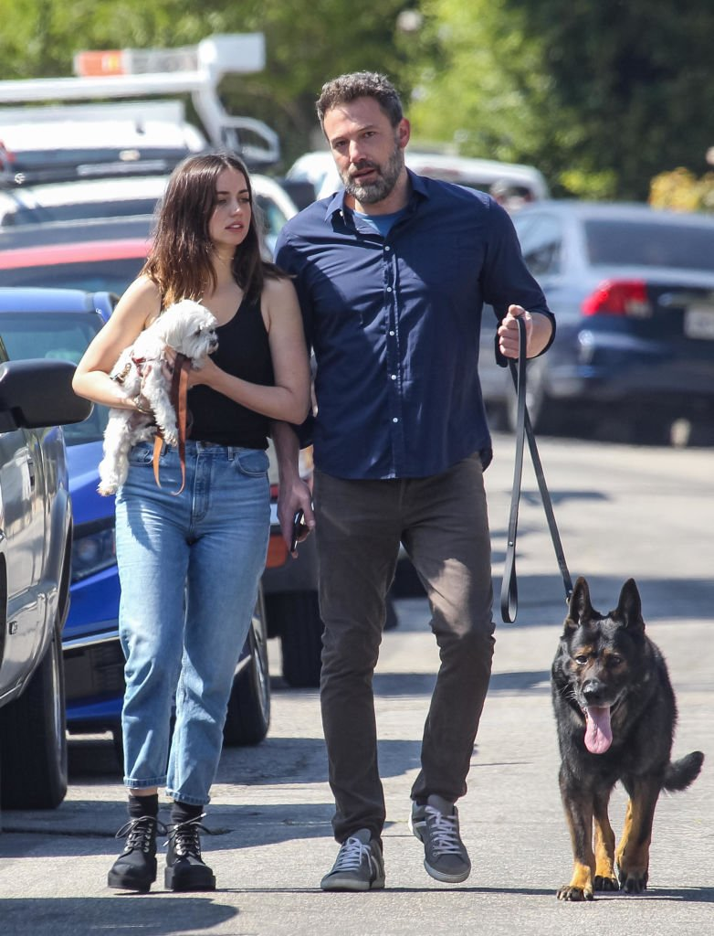 Ben Affleck and Ana de Armas pictured in L.A. walking their dogs in April, 2020.   Photo: Getty Images.