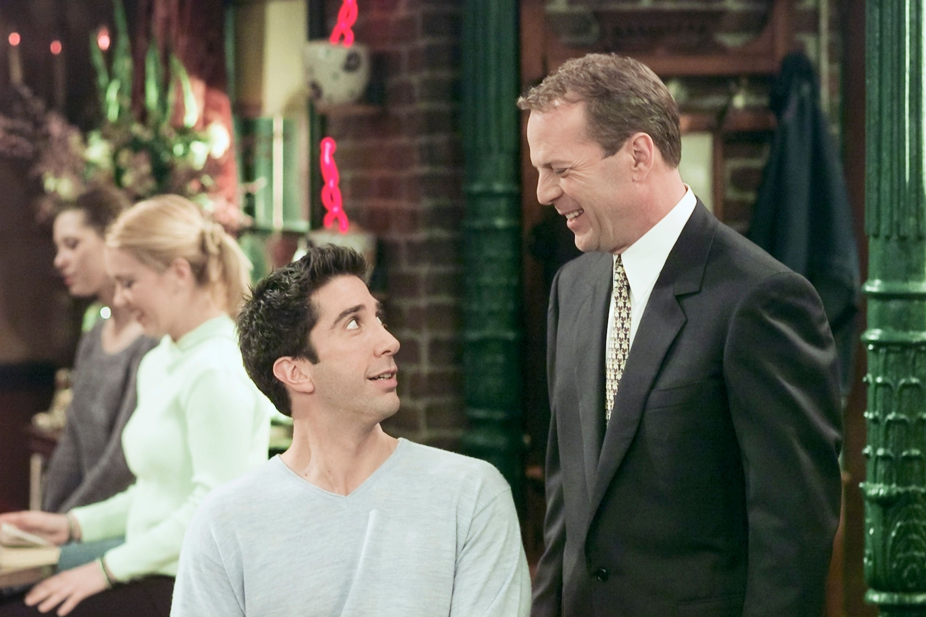"""David Schwimmer as Ross Geller, and Bruce Willis as Paul Stevens in a 2000 episode of """"Friends"""" 