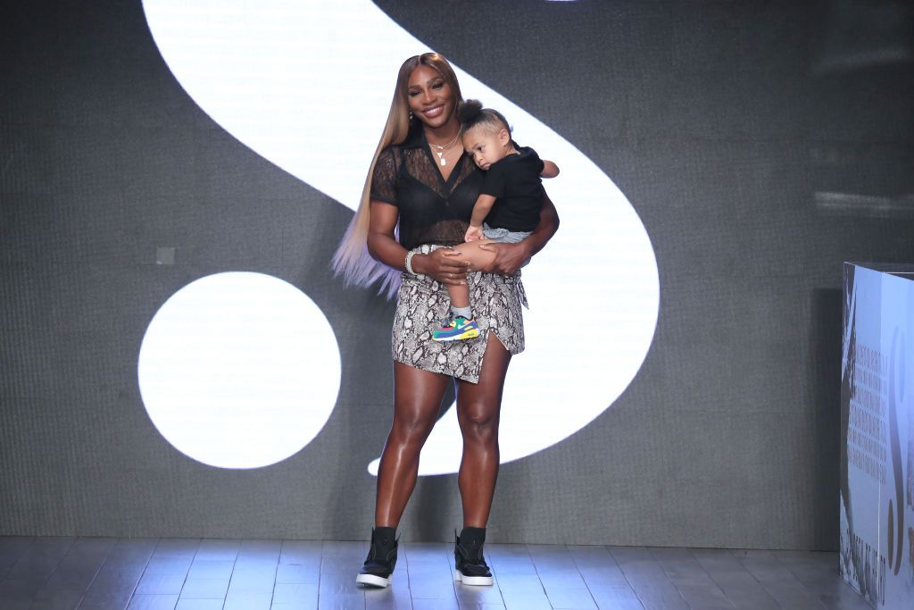 """Serena Williams and her daughter Olympia on the runway of her """"S by Serena Williams"""" fashion show in September 2019.   Photo: Getty Images"""