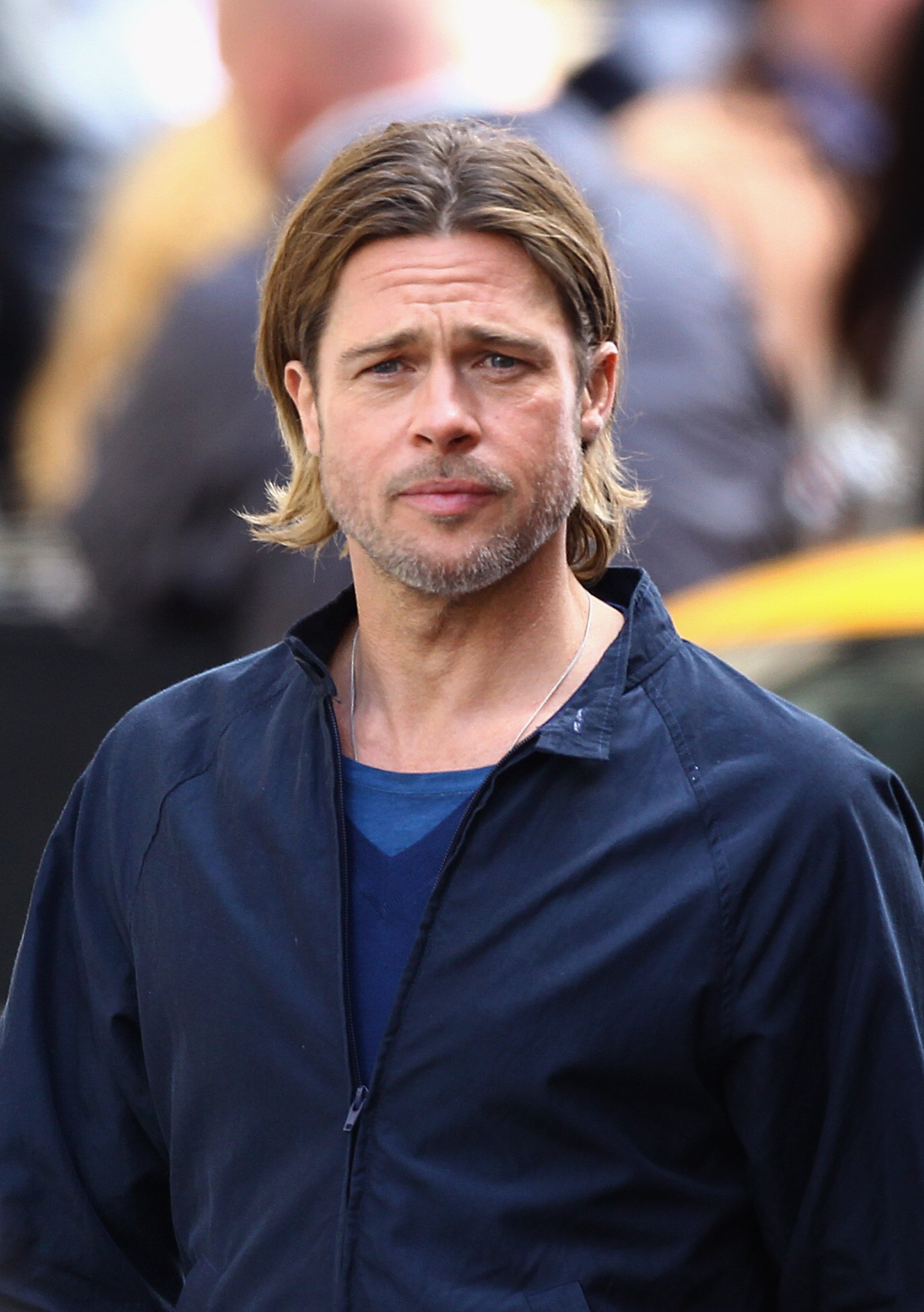 """Brad Pitt during his scene in the 2014 film """"World War Z"""" in Glasgow. 