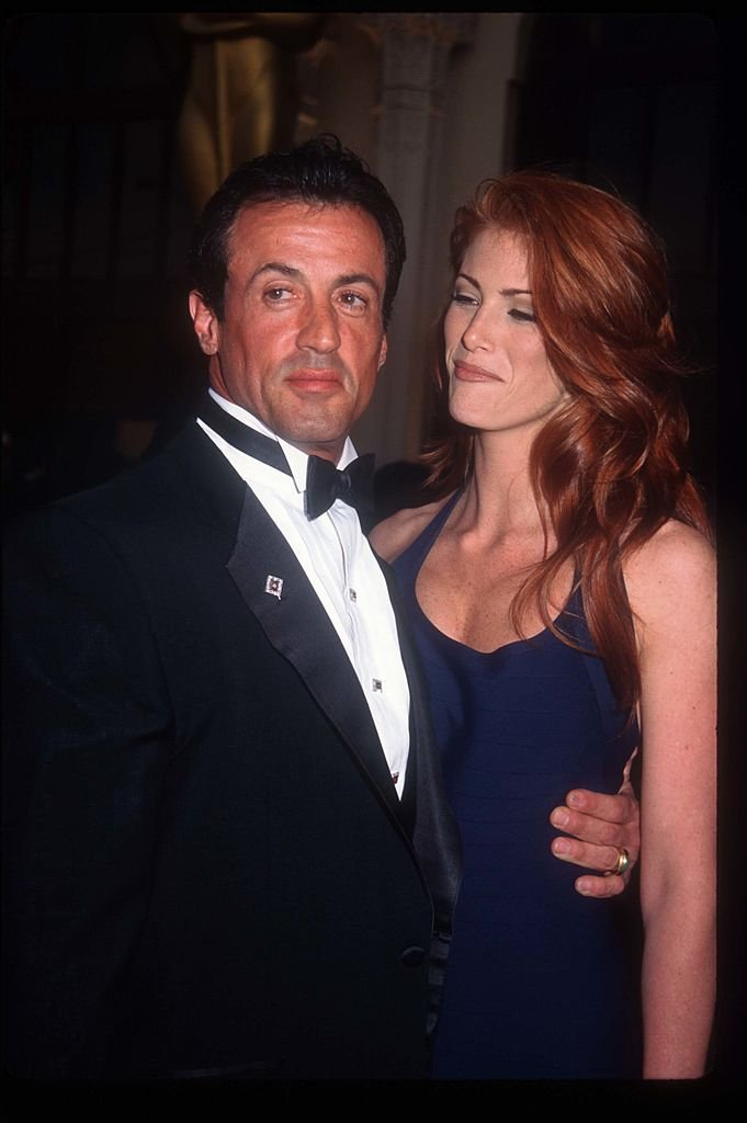 Sylvester Stallone and Angie Everhart at the sixty-seventh Academy Awards | Getty Images