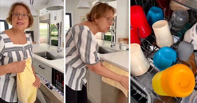 TikToker Babs, also known as Nonna, showing how to use the dish towel on the dishwasher | Photo: Tiktok.com/brunchwithbabs
