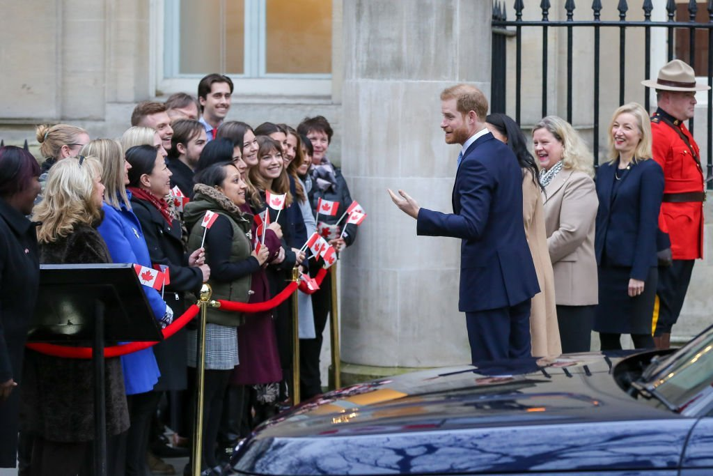 Prince Harry and Meghan Markle speak to a crowd waiting outside Canada House before going in to meet the High Commission staff January 07, 2020, in London, England | Source: Steve Taylor/SOPA Images/LightRocket via Getty Images