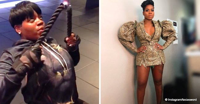 Fantasia shows off her fit body in long-sleeved mini dress after working out hard at the gym