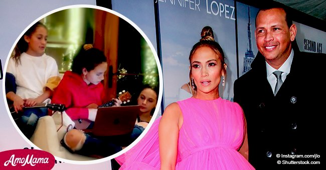 Jennifer Lopez's daughter plays the ukulele and shows off her musical talents to the family