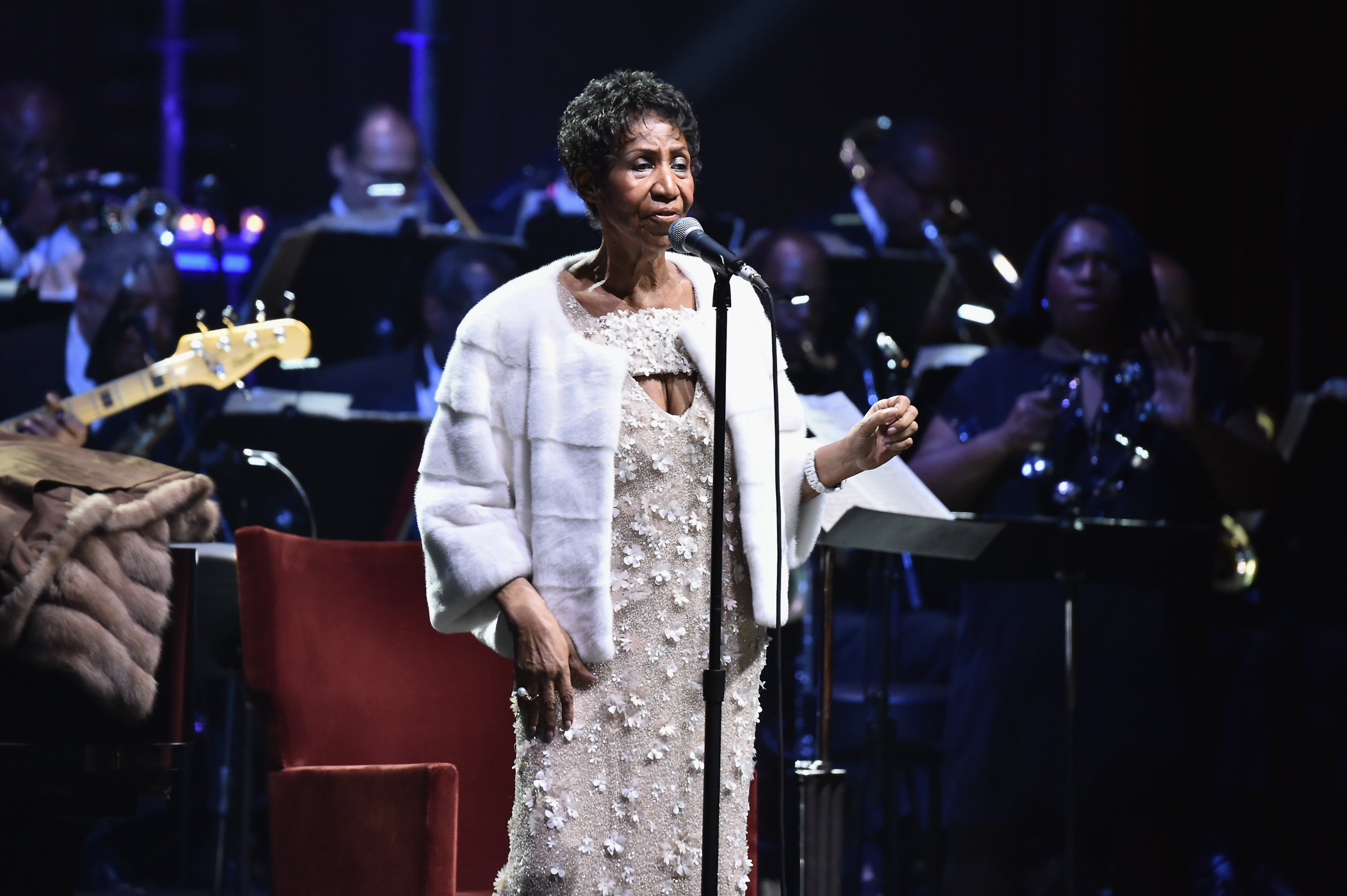 Aretha Franklin performing onstage at the Elton John AIDS Foundation on its  25th Year on November 7, 2017 at the Cathedial of St. John the Divine.   Source: Getty Images