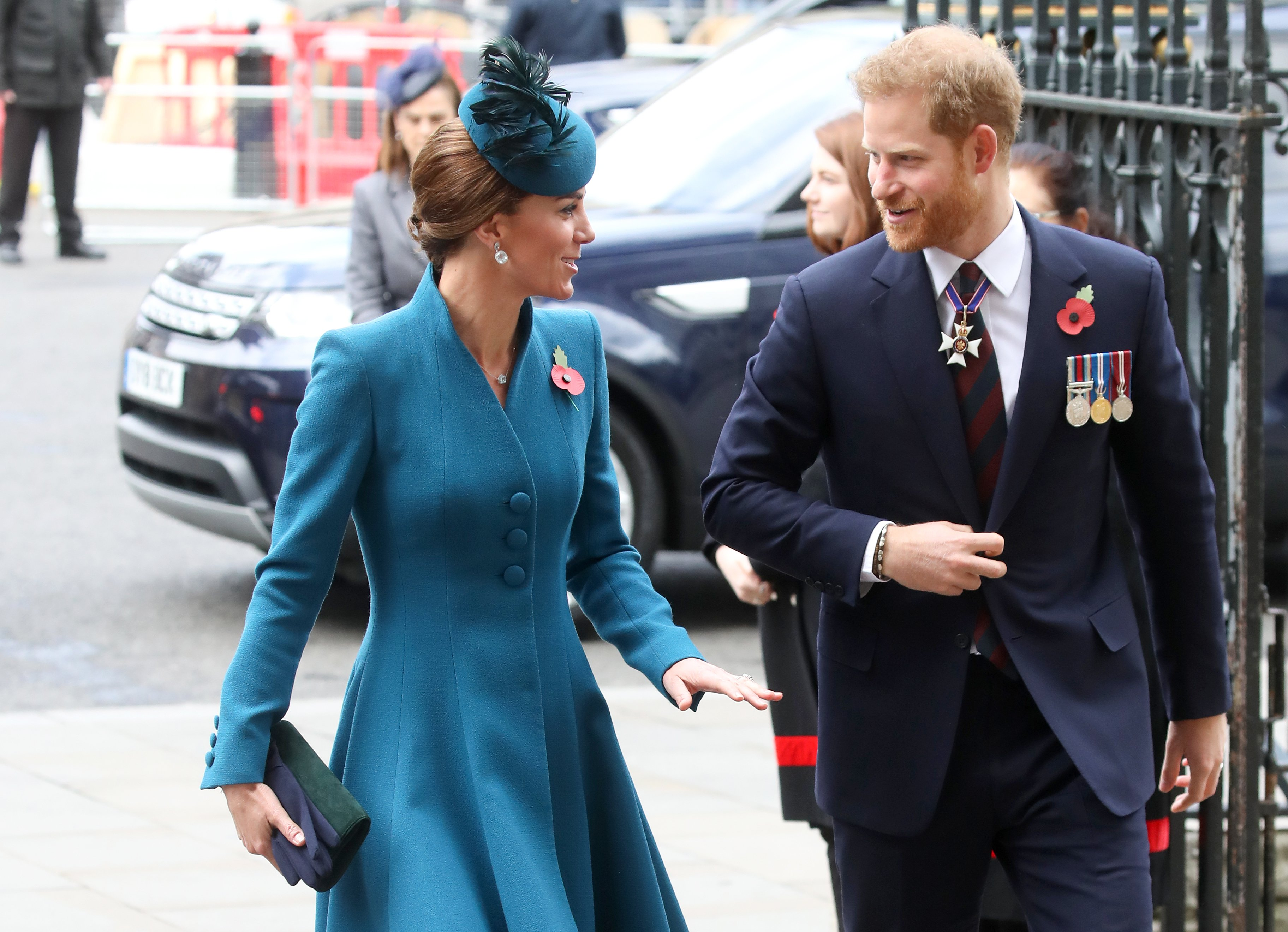 Prince Harry and Kate Middleton laugh on their way to commemorate Anzac Day in April 2019 | Photo: Getty Images
