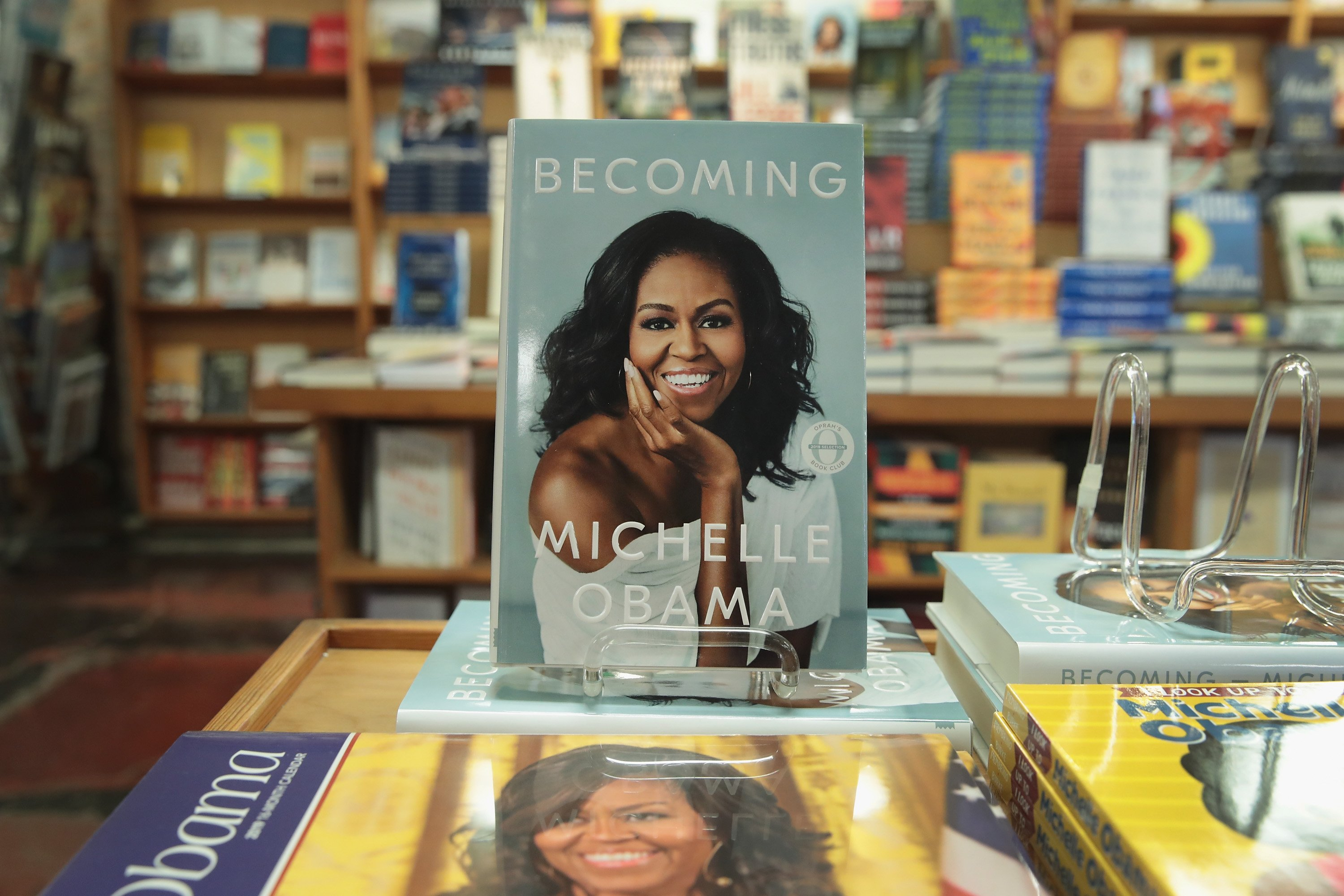 """"""" Becoming"""", a book by former first lady Michelle Obama, is displayed at the 57th Street Books bookstore on November 13, 2018, in Chicago, Illinois. 