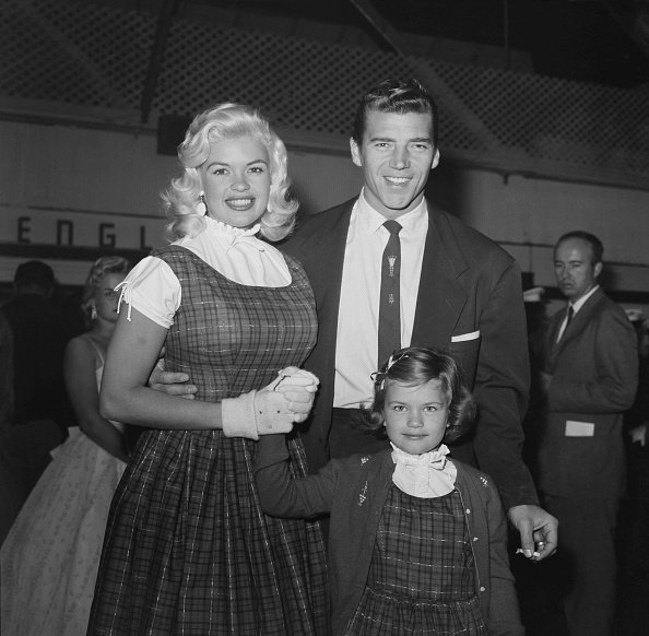 Actress Jayne Mansfield with her daughter Jayne Marie Mansfield and Mickey Hargitay during a Christmas Parade party in Los Angeles | Photo: Getty Images