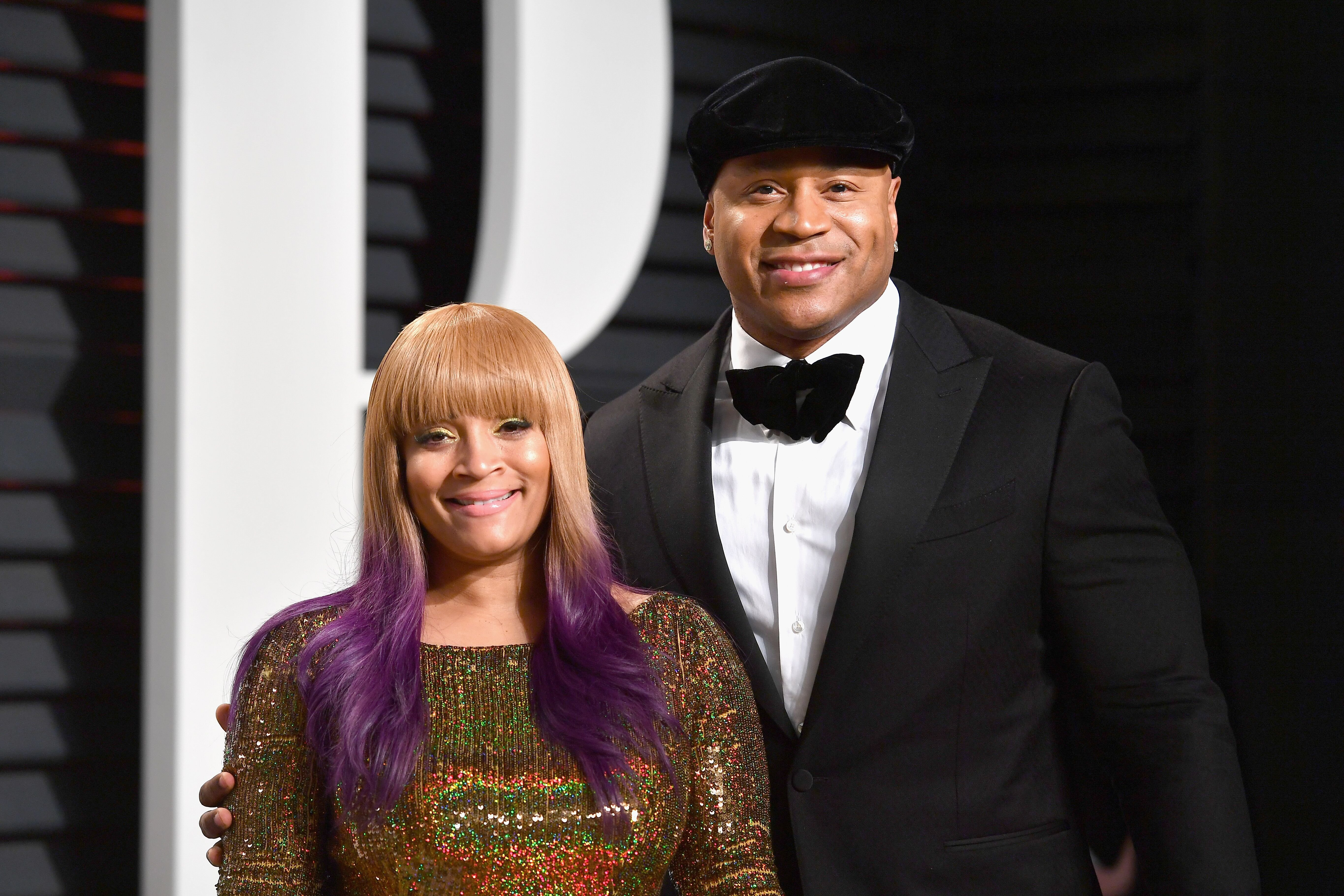 Simone Smith and LL Cool J at the 2017 Vanity Fair Oscar Party on February 26, 2017 | Source: Getty Images