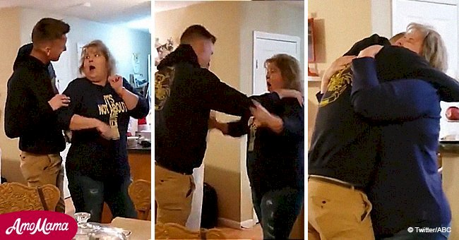 Mom bursts into tears as Marine son returns home for Christmas and sneaks in to surprise her