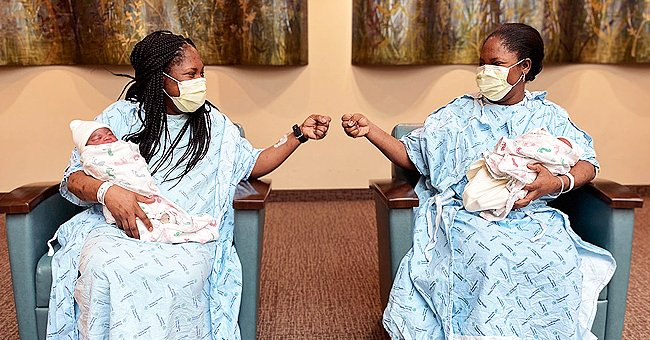 Twin sisters, Kehinde Adedayo and Taiwo Aluko holding their children who were born 48 hours apart. | Photo: Twitter/CBSDFW