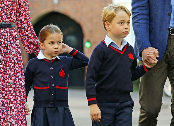 Princess Charlotte arrives for her first day of school at Thomas's Battersea in London, with her brother Prince George and her parents the Duke and Duchess of Cambridge on September 5, 2019 in London, England | Photo: Getty Images