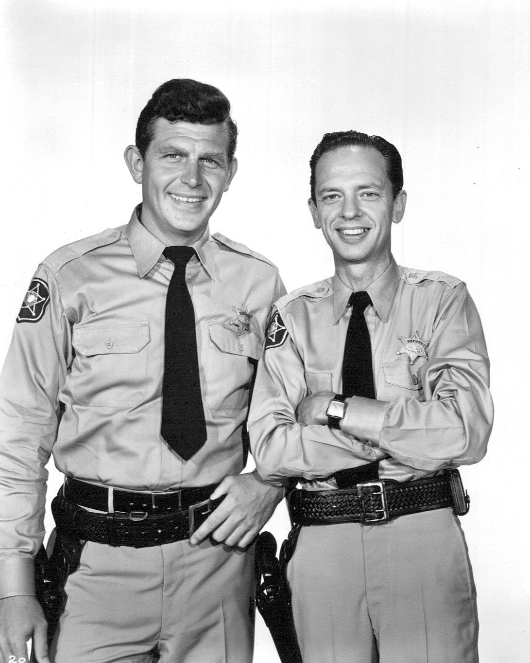 "Andy Griffith as Sheriff Andy Taylor and Don Knotts as Deputy Barney Fife from the premiere of ""The Andy Griffith Show."" 