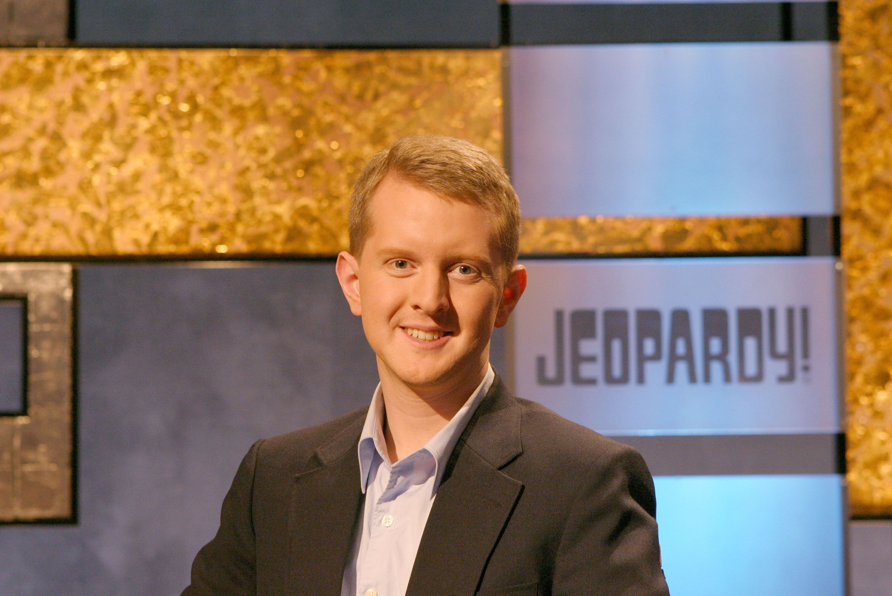 "Ken Jennings poses in this undated handout photo on the set of ""Jeopardy!"" on an episode broadcast on November 30, 2004. 