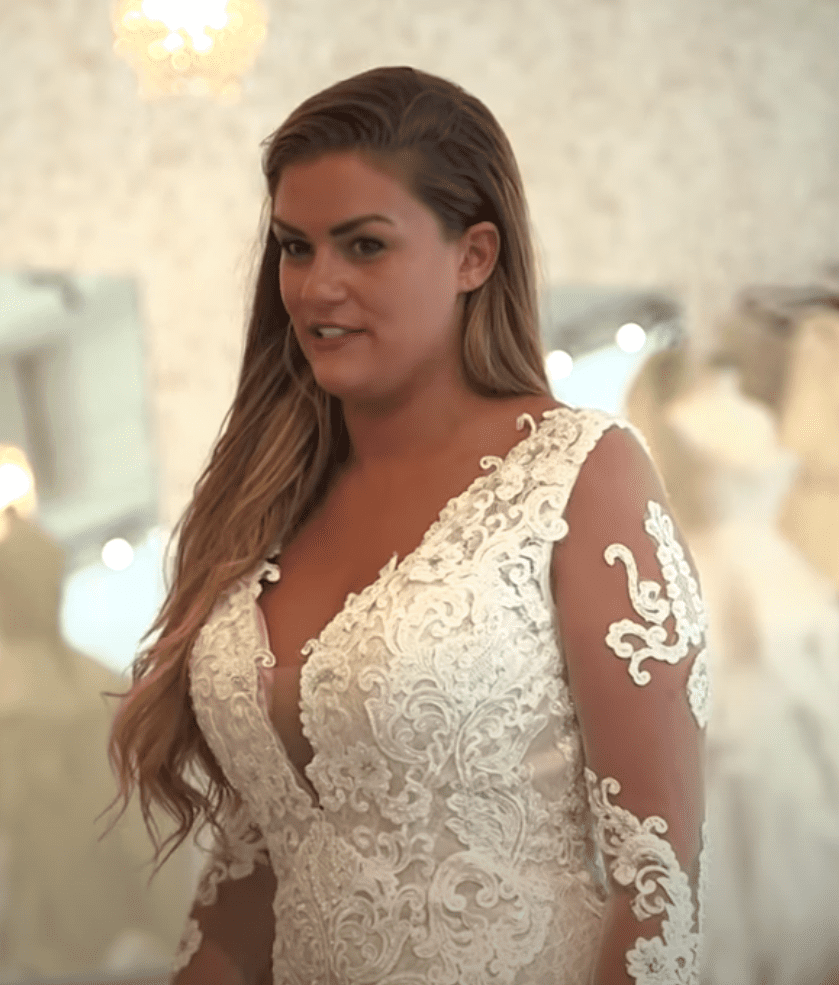 """Brittany Cartwright trying wedding dresses in an episode of """"Vanderpump Rules"""" in April 2019. I Image: YouTube/ Bravo."""
