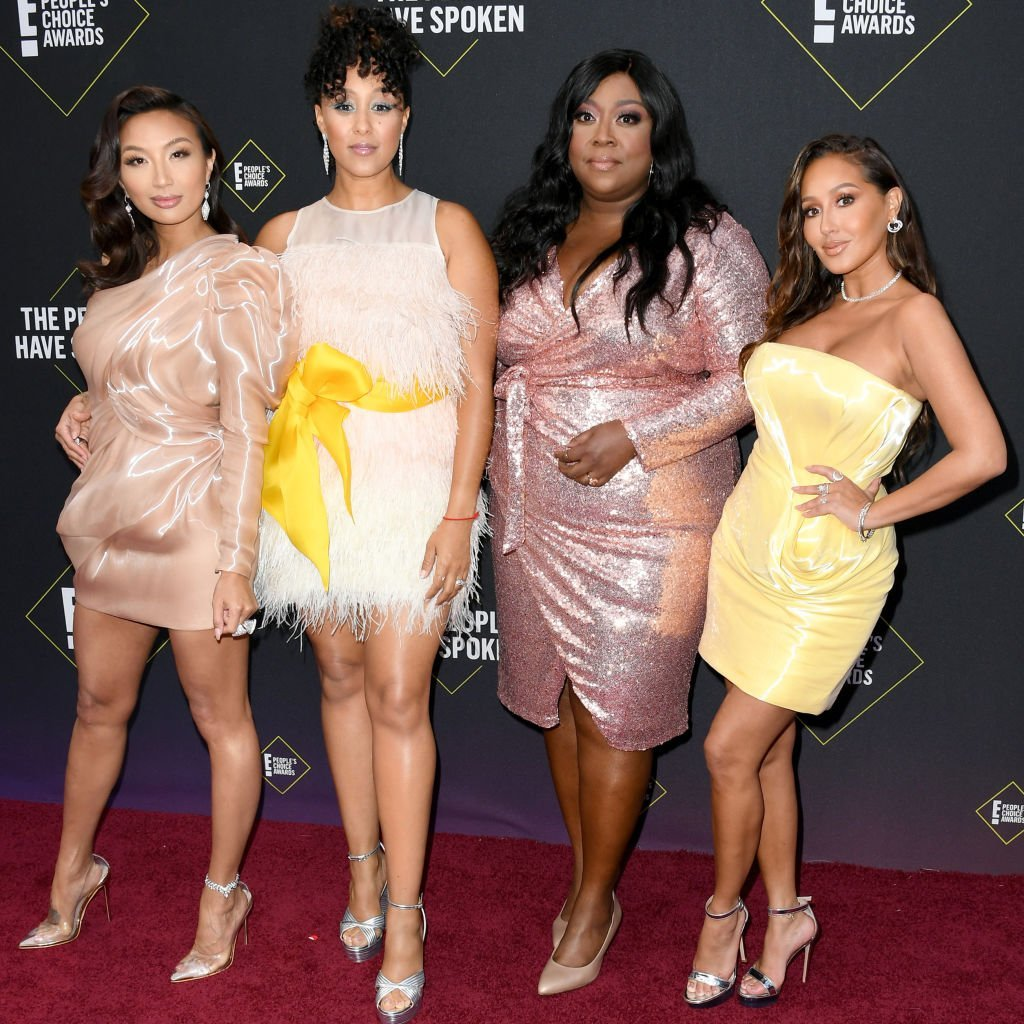 Jeannie Mai, Tamera Mowry-Housley, Loni Love and Adrienne Houghton at E! People's Choice Awards on November 10, 2019, in Santa Monica, California. | Source: Getty Images