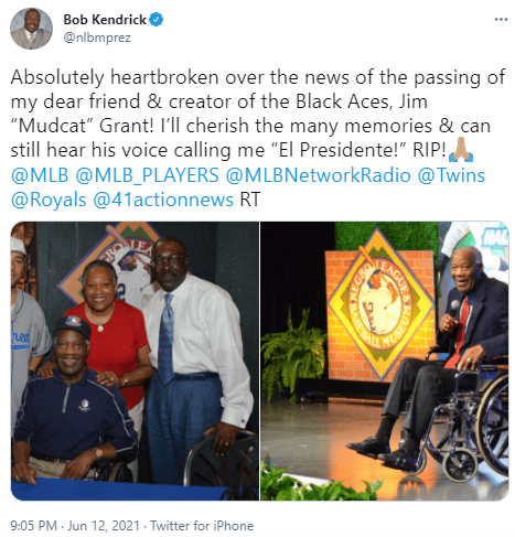 Bob Kendrick, a friend of Jim Grant, shared a tribute for the late player on Twitter.   Photo: Twitter/nlbmprez