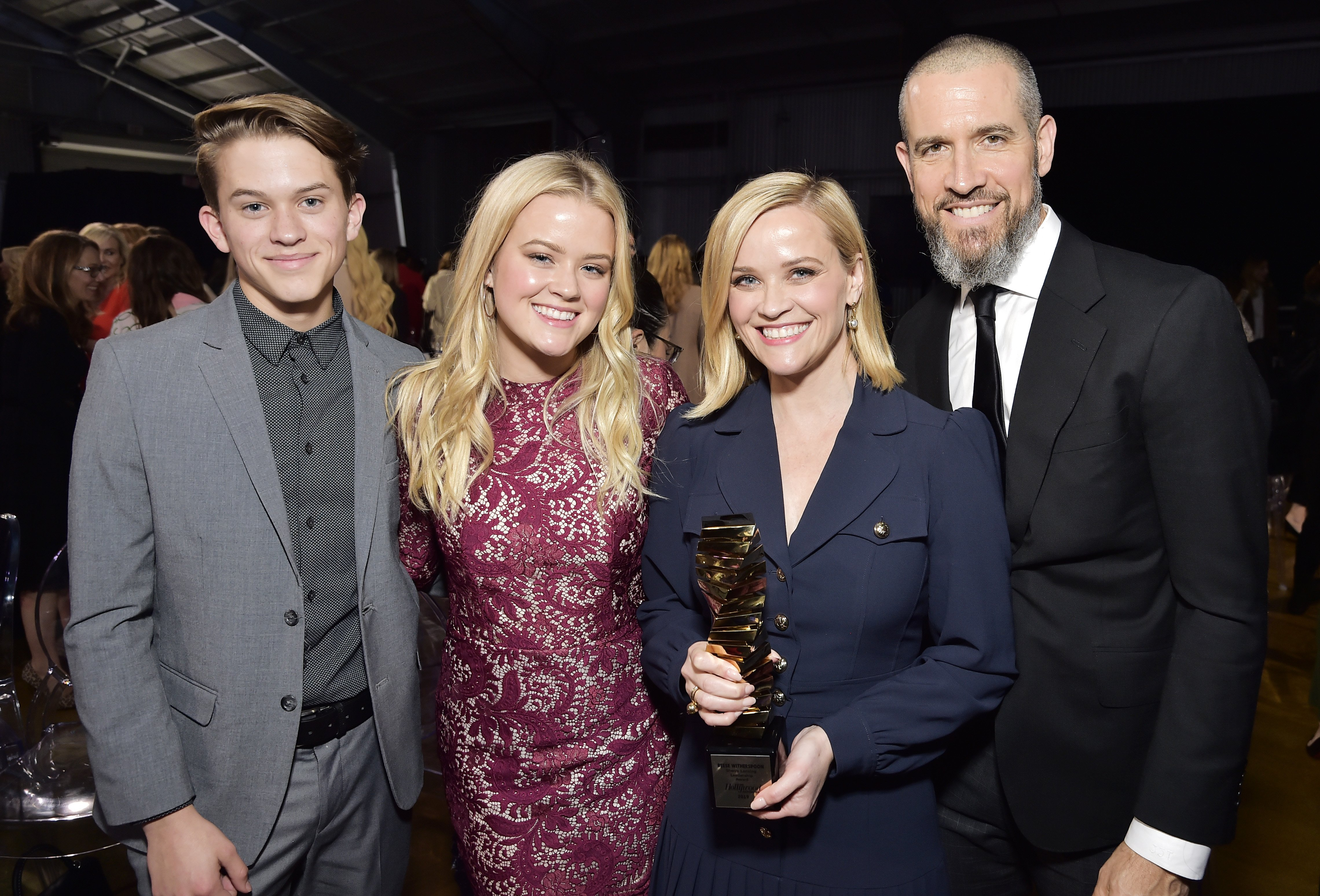 """Left to Right are Deacon Phillippe, Ava Phillippe, Reese Witherspoon and Jim Toth, December, 2019. """" Photo: Getty Images."""