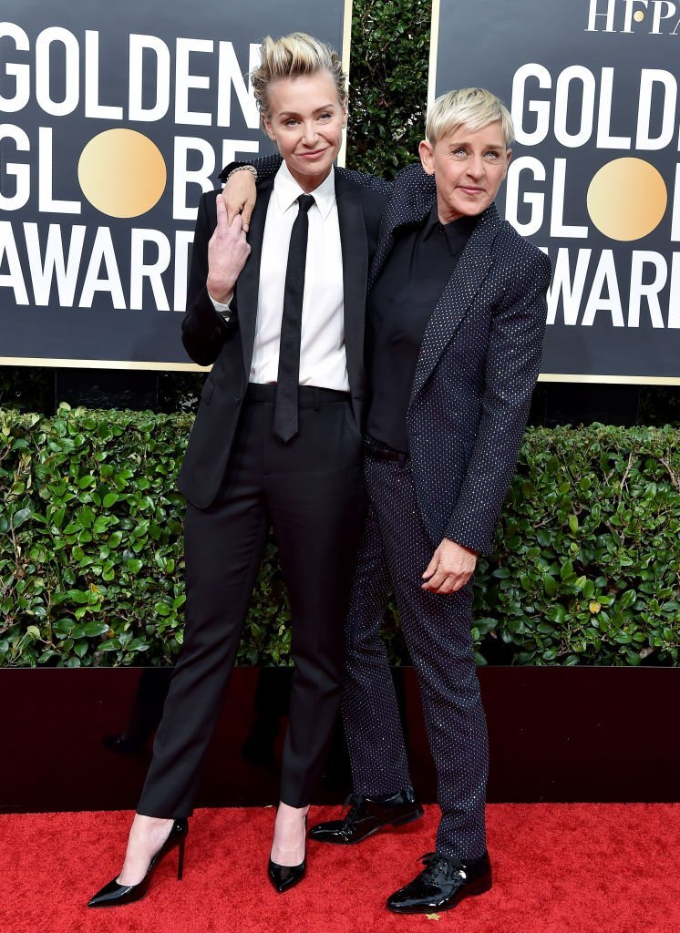 Portia de Rossi and Ellen DeGeneres attend the 77th Annual Golden Globe Awards | Getty Images / Global Images Ukraine