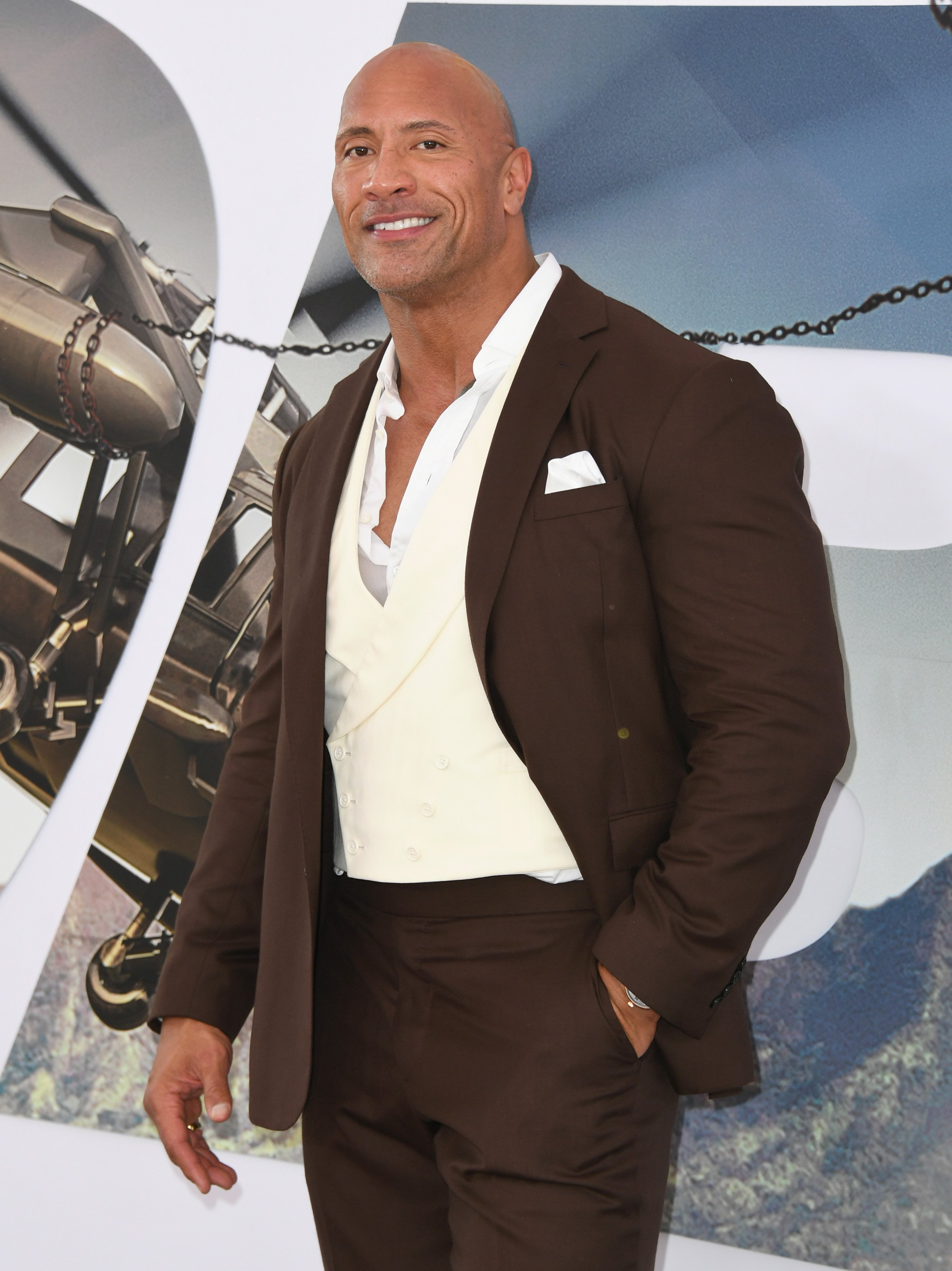 "Dwayne Johnson attends the Premiere Of Universal Pictures' ""Fast & Furious Presents: Hobbs & Shaw""  on July 13, 2019, in Hollywood, California. 