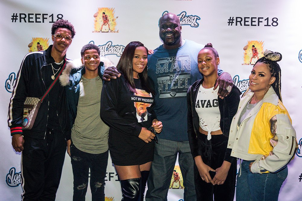Shareef O'Neal, Shaqir O'Neal, Amirah O'Neal, Shaquille O'Neal, Me'arah O'Neal, and Shaunie O'Neal at Shareef's birthday at West Coast Customs on January 13, 2018 | Photo: Getty Images