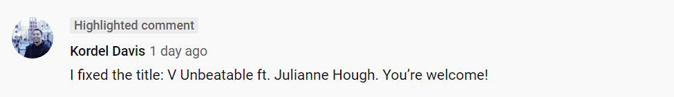 A fan of V. Unbeatable comments on Julianne Hough's performance video on Youtube | Youtube: America's Got Talent