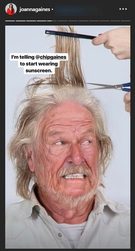 Chip Gaines with the FaceApp aging-filter applied   Photo: Instagram Story/Joanna Gaines