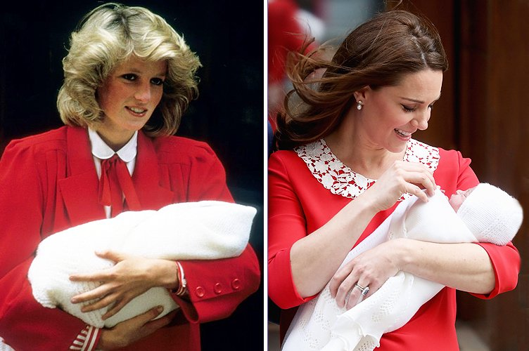 Princess Diana in September 1984 and Duchess Kate Middleton in April 2018 | Photo: Getty Images