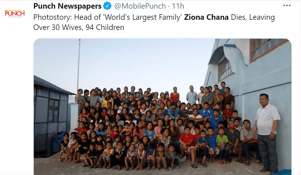Pictured - Ziona Chana and his family pose outside their 100-room residence | Twitter/@MobilePunch