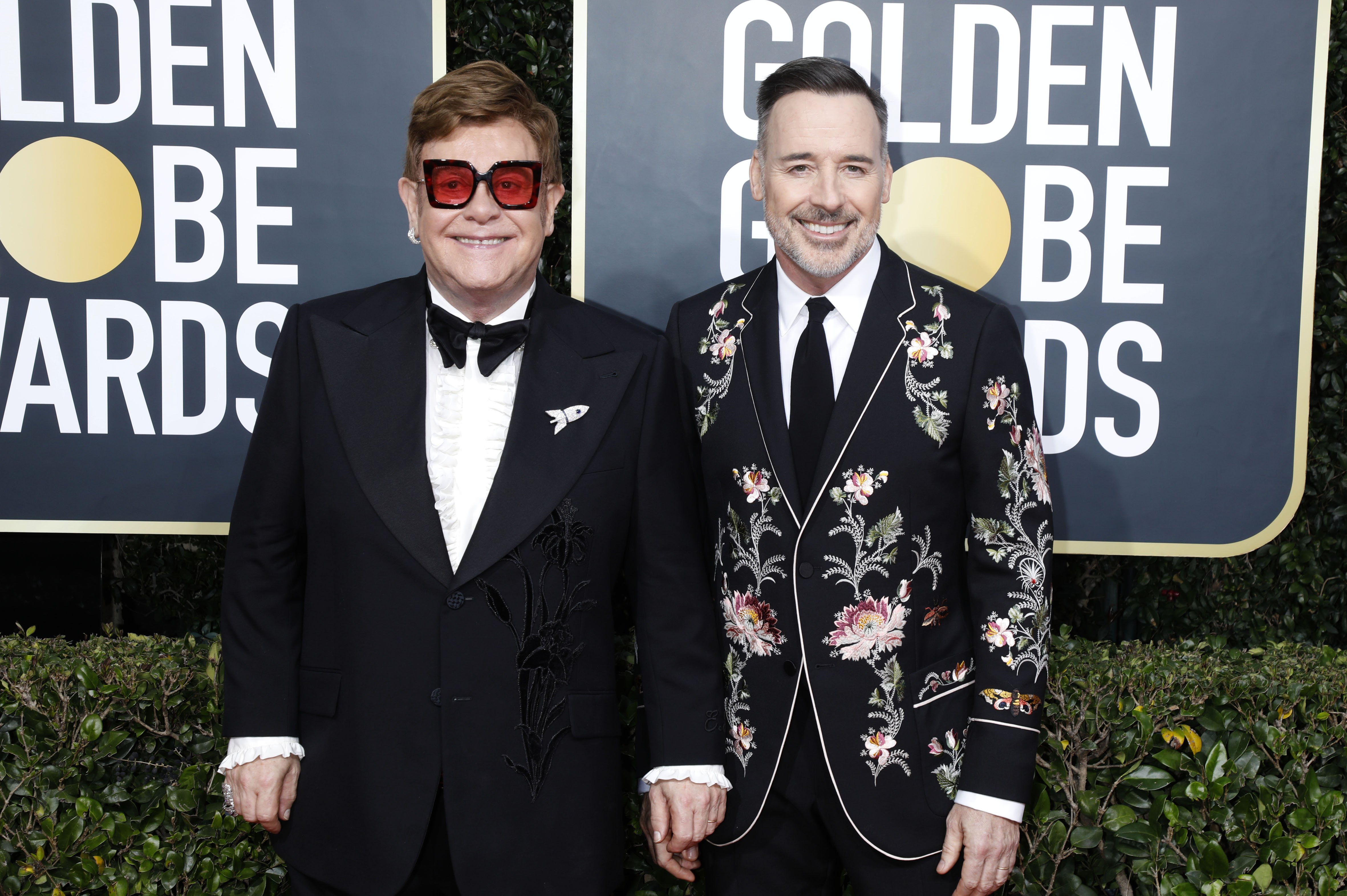 Elton John and David Furnish attend the 77th Annual Golden Globe Awards on January 05, 2020, in Beverly Hills, California. | Source: Getty Images.