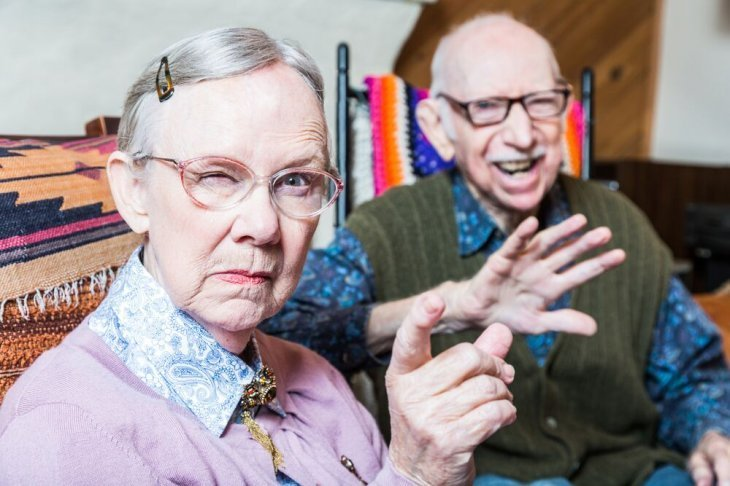 Angry old woman with old man | Source: Shutterstock